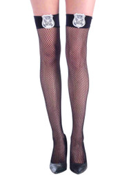 Black Fishnet Police thigh stockings with Badge