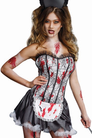 Bloody Zombie Corset French Maid Halloween Costume