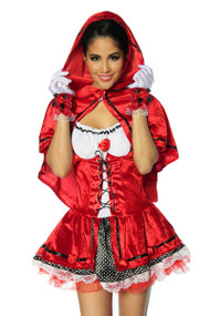 Deluxe Red Rose Velvet Riding Hood Fairytale Costume