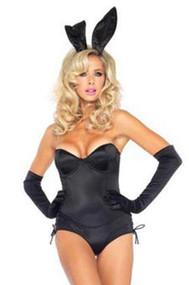 Black Satin Playgirl Bunny Waitress Teddy Tanga Halloween Costume