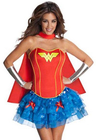 Retro 80s Wonder Woman Corset Petticoat Costume