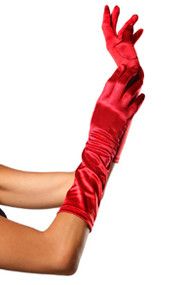 Red Satin Opera Gloves