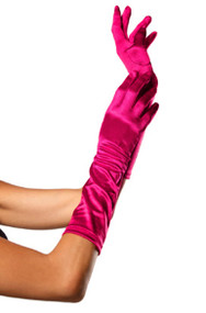 Magenta Pink Satin Opera Gloves