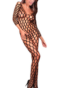 Black Fencenet Full Body Stockings Plus Size