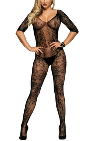 Black Full Paisley Lace Fishnet Open Crotch Lingerie Long Sleeve Body Stockings