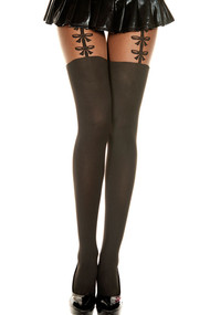 Black and Nude Semi Sheer Faux Garter Bow Thigh high Pantyhose