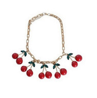 Cherries on Gold plated Chain Choker Necklace