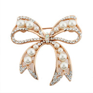 Faux Pearl Retro Bow Cubic Zirconia Crystal Studded Vintage Brooch