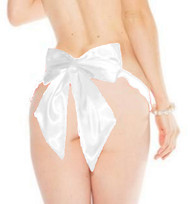 White Mesh Satin Oversized Bow Thong Panty Lingerie