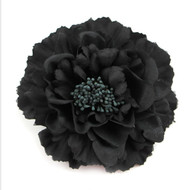 Black Peony Realistic Pin-up Flower Hair Clip