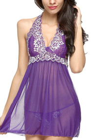Purple Ada Embroidered Halter Lace Babydoll