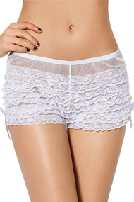 White Retro Rumba Boyshort Panty with Bow - PLUS SIZE