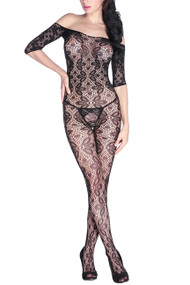 Black Lace Off Shoulder Open Crotch Full Body Stockings