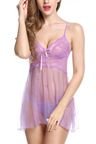 Frida Purple Sparkle See Through Babydoll
