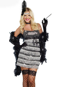 Deluxe 20's Vintage Silver Sequined Flapper FringeShow girl Halloween Costume