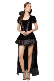 Black Velvet Evil Queen with Long Train Costume