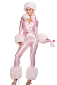 Sexy Posh Pink Poodle Body Suit Faux Fur Costume