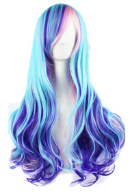 Blue Ombre Cosplay Long Wavy Wig with Side Bangs