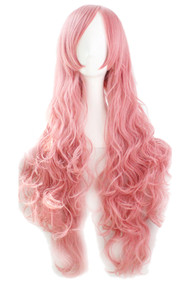 Ash Pink Long Wavy Curly Wig with Long Side bangs