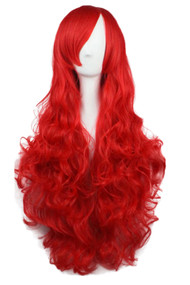 Red Long Wavy Curly Wig with Long Side bangs