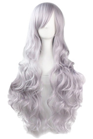 Silver Gray Long Wavy Curly Wig with Long Side bangs