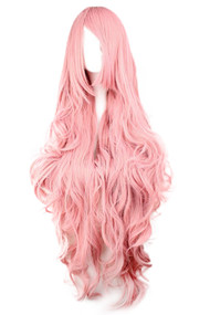 Baby Pink Extra Long Wavy Curly Wig with Side bangs 39.5""