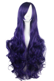 Purple Long Wavy Curly Wig with Long Side bangs