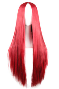 Red Long Straight Center Parting Wig 29.5""