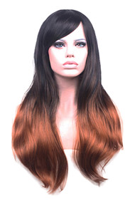 Black Brown Gradient Ombre Wavy  Long Wig