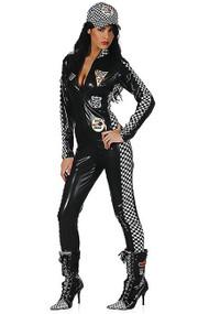 Sexy Racer Girl Vinyl Zip up Overall Costume