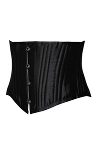 Black Luxe Satin 26 Steel Boned Waist Corset