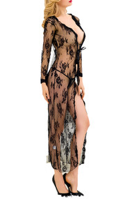 Diva Black Lace Open Front Long Night Gown Lingerie
