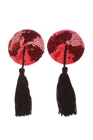 Red Round Sequin Black Tassel Reusable Adhesive Burlesque Nipple Pasties