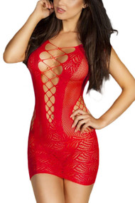 Red Fishnet Criss Cross Body Stocking Dress