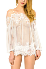 Lace Sheer Off Shoulder Sheer Chemise