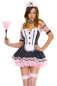 Pin-up Pink Polkadot French Maid Costume