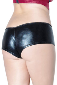 Black Wet Look Vinyl Pole Dance Stripper Booty Panty- Plus Size