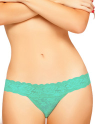 Mint Lace Seduction Low Rise Thong Panty Plus Size