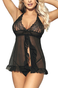 Tammy Black Rosy Lace Ruffle Racerback Open Front Babydoll Lingerie