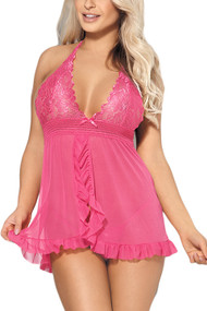 Tammy Pink Rosy Lace Ruffle Racerback Open Front Babydoll Lingerie
