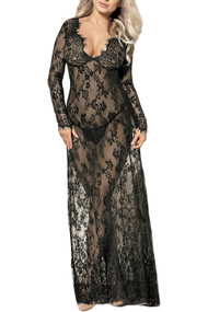 Paige Black Eyelash Lace Long Night Gown