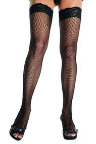 Black Lace Top Fishnet Thigh Stockings