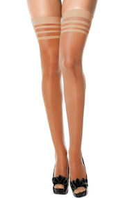 Beige Sheer Regular Thigh Stockings 12 denier