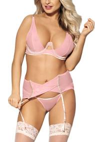 Katiya Pink Sheer Bra Garter Lingerie Set