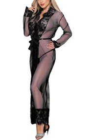 Lana Black Sheer Lace Long Robe