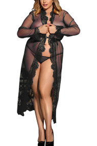 Lana Black Sheer Lace Long Robe Plus Size