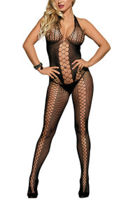 Criss Cross Fencenet front Body Stockings