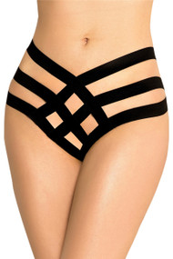 Black Bailey Caged Strappy Garter  Panty Plus Size