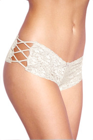 White Liza Criss Cross Side Lace Cheeky Panty