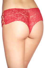 Red Liza Criss Cross Side Lace Cheeky Panty
